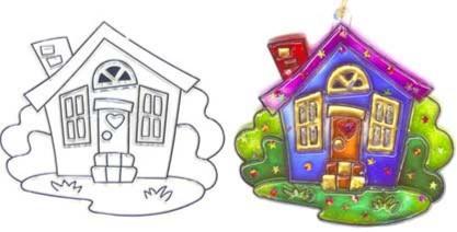 Иллюстрация 1 из 8 для Витраж малый: Домик | Лабиринт - игрушки. Источник: Лабиринт