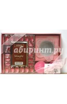 Набор: 05А0423 Рамка, 2 свечи, подсвечник, розовый