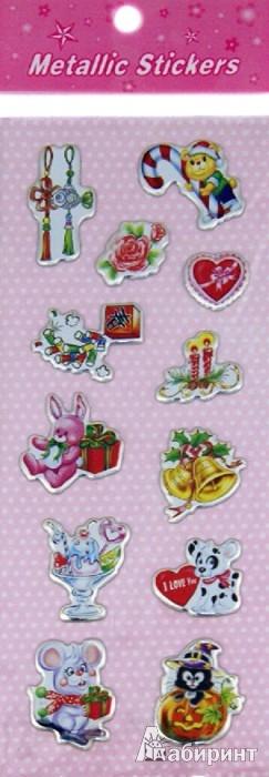 Иллюстрация 1 из 4 для Наклейки детские Metallic Stickers (7х18см) объемные. В ассортименте | Лабиринт - игрушки. Источник: Лабиринт