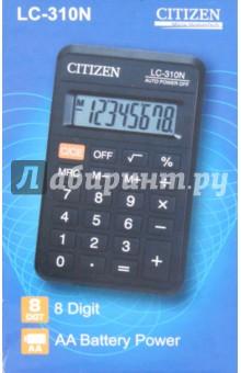 Калькулятор карманный Citizen 8-разрядный (LC-310N)Калькуляторы<br>Калькулятор карманный.<br>Питание: батарейка типа АА.<br>Разрядность дисплея:  8-разрядный<br>Специальные функции: память, вычисление квадратного корня, кнопка выключения.<br>Материал: пластмасса с элементами из металла.<br>Упаковка: картонная коробка.<br>Сделано в Китае.<br>