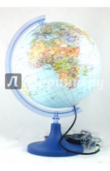 Глобус политический с подсветкой. Диаметр 250 мм. (ZM250Pр)Глобусы<br>Глобусы с подсветкой - это не только учебное пособие, но и  подарок, и осветительный прибор. По освещению они приравниваются к ночникам - такой же мягкий, нежно голубой успокаивающий свет создаст в комнате уют и умиротворение. Подставка выполнена из непрозрачного пластика синего цвета, рамка - из прозрачного светло-голубого пластика.<br>Диаметр 250 мм.<br>Питание: 230 В, 50 ГЦ.<br>Максимальная мощность лампочки: 25 Вт (лампа накаливания).<br>Резьба лампочки: Е14.<br>Длина шнура: 150 см.<br>Производитель: Польша.<br>Упаковка: картонная коробка.<br>