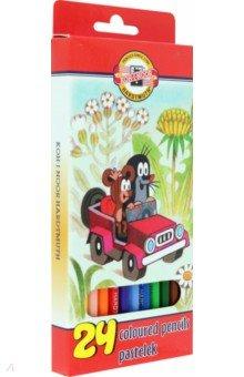 Карандаши 24 цвета (3654)Цветные карандаши более 20 цветов<br>Набор цветных карандашей в картонной упаковке с блистером.<br>Количество цветов: 24.<br>Карандаши заточенные.<br>Корпус- дерево<br>Производство: Чехия<br>