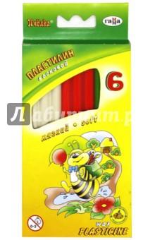 Пластилин восковой Пчелка 6 цветов со стеком (280029Н)