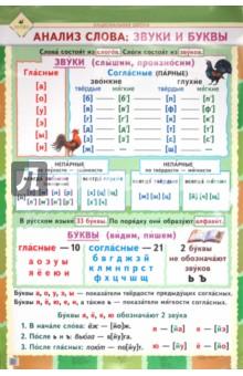 Анализ слова: звуки и буквы. Национальная школа. 1-4 класс. Плакат
