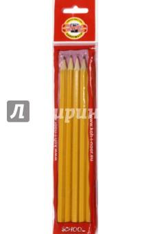 Карандаши чернографитные разной твердости, 5 штук (1500/5)Наборы карандашей<br>Набор карандашей графитных, для черчения и художественных работ, древесина - кедр, корпус желтого цвета, тиснение золотом, различной твердости.<br>Карандаши без ластика, заточенные.<br>Количество: 5 шт.<br>Предназначен для рисования на бумаге.<br>Корпус деревянный, желтый.<br>Твердость: НВ, B, H, 2H, 2B.<br>Срок годности не ограничен.<br>Не рекомендуется детям младше 3-х лет.<br>Производство: Чехия.<br>