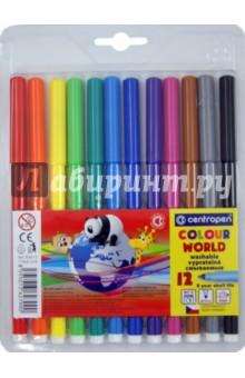 Фломастеры 12 цветов Color World (7550/12TP)Фломастеры 12 цветов (9—14)<br>Набор фломастеров (12 штук, 12 цветов).<br>Толщина стержня 2 мм.<br>- легко смываемые чернила.<br>- твердый трехгранный наконечник.<br>- предназначены для рисования на бумаге.<br>Из-за наличия мелких деталей не рекомендовано детям младше 3-х лет.<br>Производство: Чехия.<br>