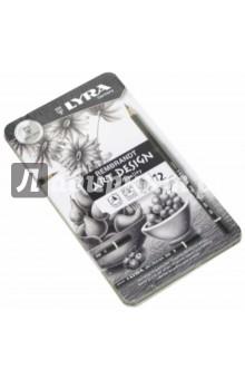 Карандаши чернографитные в металлической коробке разной твердости 12 штук (1111120) LYRA