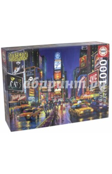 Пазл-1000 Times Square, Нью-Йорк (13047)Пазлы (1000 элементов)<br>Пазл-мозаика.<br>Состоит из 1000 элементов.<br>Правила игры: вскрыть упаковку и собрать игру по картинке.<br>Размер собранной картинки: 68х48 см.<br>Не давать детям до 3-х лет из-за наличия мелких деталей.<br>Срок годности не ограничен.<br>Упаковка: картонная коробка.<br>Производитель: Испания.<br>В комплект входит специальный клей для склеивания элементов. Клей представляет из себя порошок, который нужно просто разбавить водой. Он не разлагается при минусовой температуре как большинство клеев для пазлов.<br>Неоновые пазлы. Благодаря специальному покрытию днем накапливают солнечный свет, а ночью приобретают неоновое свечение.<br>
