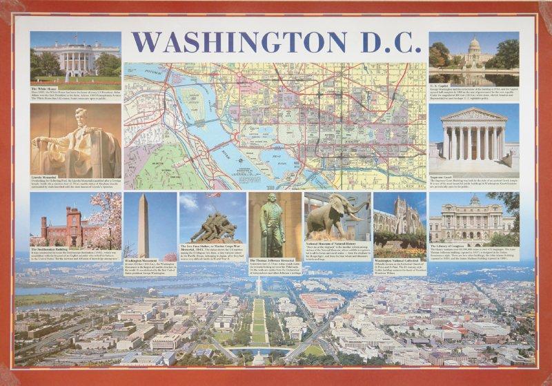 Иллюстрации Карта-схема Нью-Йорка/Карта-схема Вашингтона.  Стационарное учебное наглядное пособие - Нина Брюсова.