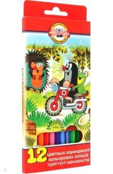Карандаши цветные Крот (12 цветов) (3652)Цветные карандаши 12 цветов (9—14)<br>Цветные карандаши для рисования.<br>Количество штук в упаковке: 12.<br>Количество цветов: 12.<br>Упаковка: картонная коробка с блистером.<br>Производство: Чешская Республика.<br>