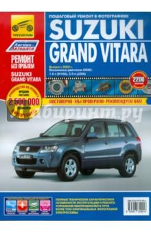 Suzuki Grand Vitara. Руководство по эксплуатации, техническому обслуживанию и ремонтуЗарубежные автомобили<br>В руководстве дается пошаговое описание процедур по эксплуатации, ремонту и техническому обслуживанию переднеприводных и полноприводных автомобилей Suzuki Grand Vitara с 2005 г. выпуска, оборудованных двигателями М16А (1,6л, DOHC), J20A (2,0 л, DOHC).<br>Издание содержит подробные сведения по ремонту, проверке и регулировке элементов системы управления бензиновыми двигателями, автоматических коробок передач, инструкции по использованию самодиагностики системы управления двигателем, АКПП, ABS, ESP (система курсовой устойчивости), раздаточной коробки и SRS, рекомендации по регулировке и ремонту автоматических коробок передач, элементов тормозной системы (включая<br>ABS), рулевого управления и подвески. Приведены разъемы электронных блоков управления и описаны проверки напряжения на выводах блоков систем управления двигателем, АКПП, ABS, раздаточной коробки, SRS и системы кондиционирования. Представлены подробные электросхемы и описания проверок электрооборудования моделей различных вариантов комплектации. Приведены возможные неисправности и методы их устранения, сопрягаемые размеры основных деталей и пределы их допустимого износа, рекомендуемые смазочные материалы и рабочие жидкости.<br>Книга предназначена для автовладельцев, персонала СТО и ремонтных мастерских.<br>