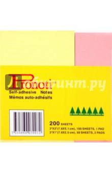 Набор стикеров 200 листов, 51х76 мм + 25х76 мм (07007)