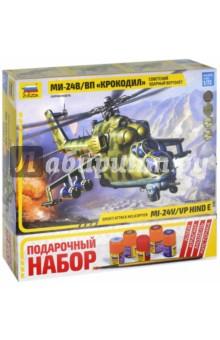 Вертолет Ми-24 В/ВП Крокодил (7293П)Раскрашиваем и декорируем объемные фигуры<br>Производство нового варианта боевого вертолета Ми-24В началось в 1976. От ранней модификации В отличался принципиально новым противотанковым комплексом Штурм-В с системой наведения Радуга-Ш, способным поражать цель с высочайшей вероятностью - более 92%. Иными словами, из 10 выпущенных ракет бронеобъекты противника поражали 9 или даже все 10! Ми-24В существенно превосходил по боевой эффективности своего американского соперника АН-1S Super Cobra. <br>С 1976 г. по 1986 г. было выпущено около тысячи Ми-24В. В составе ограниченного контингента советских войск эти вертолеты воевали в Афганистане, поставлялись на экспорт во многие страны мира. В настоящее время они составляют основу армейской авиации России.<br>Модель создавалась при помощи специалистов МВЗ им. Миля и абсолютно точно соответствует геометрии прототипа. Впервые в мире на этой модели выполненно выпуклое стекло.<br>
