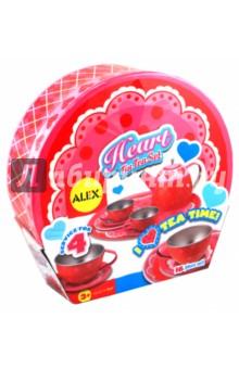 Чайный набор Сердце (704H)Наборы игрушечной посуды<br>Чайный сервиз из металла в красивом чемоданчике. В наборе:  поднос, чайник, 4 чашки, 4 тарелочки, 4 блюдца. Для детей от 3-х лет.<br>Страна-изготовитель: Китай.<br>