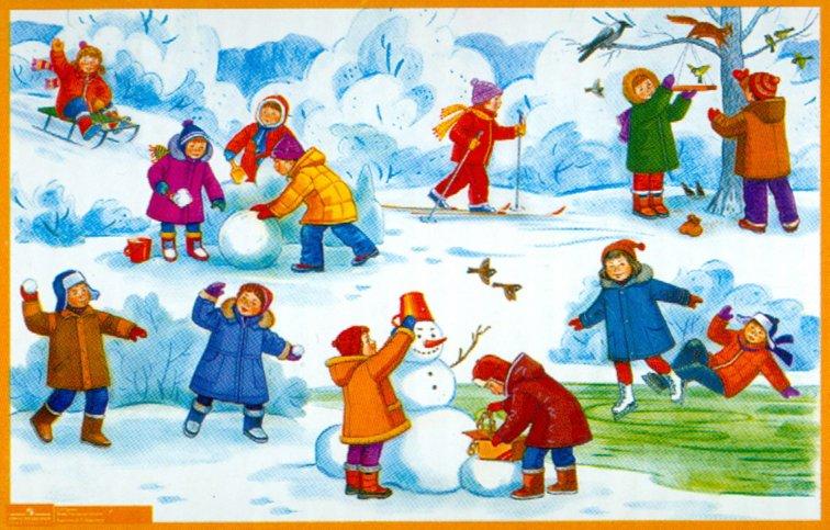 Картина зима в детский сад