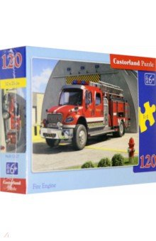 Puzzle-120 MIDI Пожарная машина (В-12527)Пазлы (Midi)<br>Пазл-мозаика.<br>Способствуют развитию образного и логического мышления, наблюдательности, мелкой моторики и координации движений руки.<br>Размер собранной картинки: 32х23 см<br>Количество элементов: 120<br>Материал: картон.<br>Упаковка: картонная коробка.<br>Правила игры: вскрыть упаковку и собрать игру по картинке.<br>Для детей от 6-ти лет.<br>Не давать детям до 3-х лет из-за наличия мелких деталей.<br>Сделано в Польше.<br>