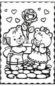 Бархатная картина Мишки с розой (08465)