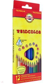 """Карандаши цветные """"Tricolor"""" (12 цветов, трехгранные) (3132/12)"""