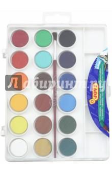 Краски акварельные 18 цветов с кистью (800/18)Краски акварельные 18 цветов (15—20)<br>Краски акварельные, 18  различных цветов.<br>В комплекте кисть №3. <br>Краска в сухих таблетках с высоким содержанием цветного пигмента, на бумаге образует яркие оттенки.<br>Требует минимального количества воды.<br>Состав акварели: смесь пигментов, наполнителей, загустителей.<br>Состав кисти: натуральный волос пони, корпус - полиэтилен, металл.<br>Для детей старше 3 лет.<br>Товар соответствует СанПин 2.4.7.007-93<br>Производство Испания.<br>