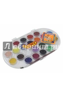 Краски акварельные (22 цвета, с кистью) (830/22)Краски акварельные более 20 цветов<br>Краски акварельные, 22 различных цвета.<br>В комплекте кисть №3.<br>Краска в сухих таблетках (диам. 30 м, вес 4,8 г) с высоким содержанием цветного пигмента. Гораздо более экономичные, чем полусухая акварель в кюветах. Легко разводятся: при небольшом количестве воды цвета получаются очень насыщенными и яркими, а увеличение количества воды приводит к эффектам, типичным для техники акварели. Могут использоваться для рисования на различных поверхностях: бумаге различной плотности, картоне, для раскрашивания просохших фигурок из пасты для лепки или папье-маше. Краски отстирываются с большинства видов тканей, но т.к. это акварель с высоким содержанием пигмента, рекомендуется стирка при температуре 30 градусов.<br>Состав акварели: смесь пигментов, наполнителей и загустителей.<br>Состав кисти: натуральный волос пони, корпус - полиэтилен, металл.<br>Для детей старше 3 лет.<br>Сертифицировано, безопасно. Для школы и хобби.<br>Производство: Испания.<br>