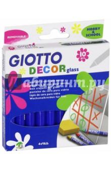 Набор восковых мелков GIOTTO Decor glass для декорирования по стеклу (441000)Витражные клей-краски, мелки и наборы<br>Восковые карандаши.<br>В наборе 10 цветов.<br>Предназначены для декорирования по стеклу.<br>Производитель Мексика.<br>