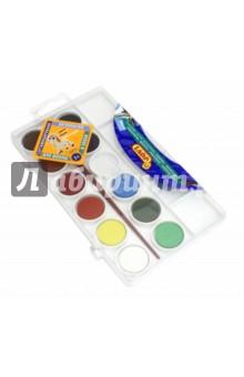 Краски акварельные 12 цветов, с кистью (800/12)Краски акварельные 12 цветов (9—14)<br>Краски акварельные, 12  различных цвета.<br>В комплекте кисть №3. <br>Краска в сухих таблетках с высоким содержанием цветного пигмента, на бумаге образует яркие оттенки.<br>Требует минимального количества воды.<br>Для детей старше 3 лет.<br>Товар соответствует СанПин 2.4.7.007-93<br>Производство Испания.<br>