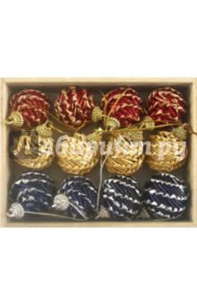 """Набор подарочный. Новогоднее подвесное украшение """"Шишки"""" из соломки, 12 штук (12269)"""