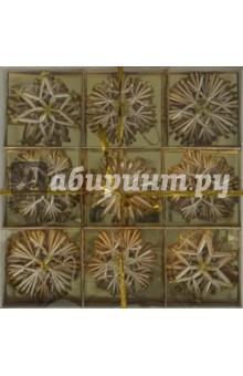 Новогоднее подвесное украшение из соломки (звезды, снежинки) 34 шт. (22609)