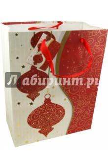 Пакет бумажный новогодний 26х33х13 см (19411)