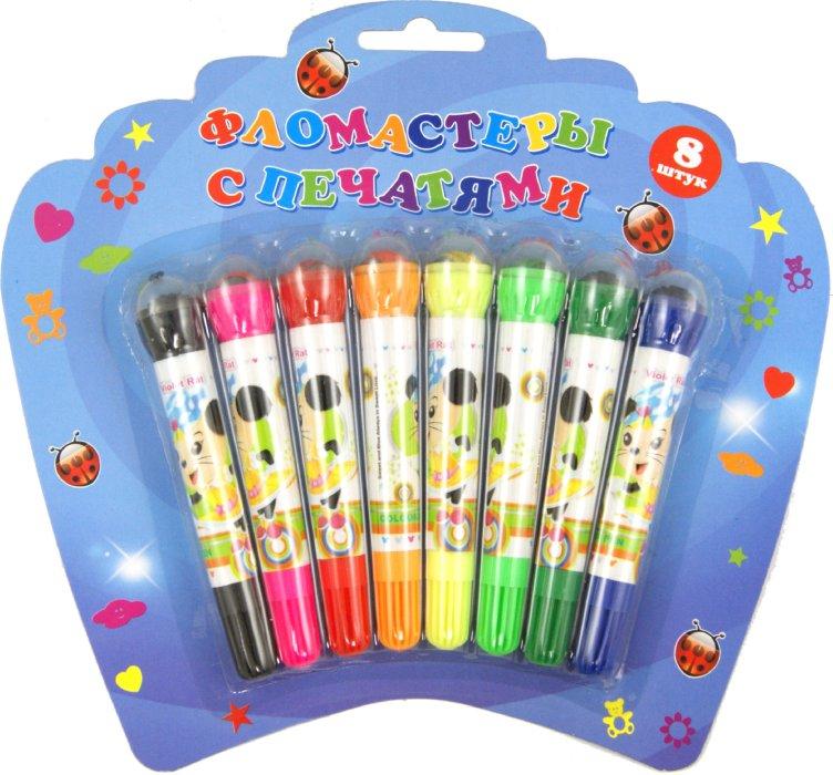 Иллюстрация 1 из 5 для Фломастеры 8 цветов на водной основе с роликовыми печатями (8007-8) | Лабиринт - канцтовы. Источник: Лабиринт