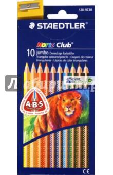 Карандаши 10 цветов + точилка (128 NC10 Noris Club 127 Jumbo)Цветные карандаши 12 цветов (9—14)<br>Карандаши цветные.<br>Трехгранные.<br>10 карандашей, 10 цветов.<br>В наборе также точилка.<br>Белое защитное кольцо повышает ударопрочность грифеля. Грифель не ломается и не крошится при заточке.<br>Корпус из сертифицированной особопрочной древесины.<br>Яркие насыщенные цвета.<br>Заточенные.<br>Сделано в Германии.<br>Упаковка: блистер.<br>