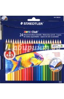 Карандаши акварельные Noris Club, 24 цвета + кисть (144 10NC24)Цветные карандаши более 20 цветов<br>Акварельные цветные карандаши в форме шестигранника, 24 цвета + кисть.<br>С A-B-S - системой. Белое защитное кольцо усиливает грифель и повышает его ударопрочность. Карандаш из древесины постоянно возобновляемых лесных массивов.<br>Срок годности не ограничен.<br>Производство: STAEDTLER, Германия.<br>