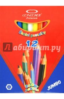 "Карандаши 12 цветов ""Premium Jumbo"", толстые (A1076)"