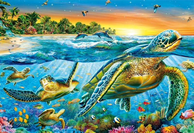 """Иллюстрация 1 из 3 для Пазл-500 """"Морские черепахи"""" (15147)   Лабиринт - игрушки. Источник: Лабиринт"""
