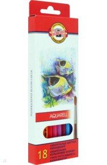 Карандаши, 18 цветов акварель Рыбки (3717/18 (04KS)Цветные карандаши 18 цветов (15—20)<br>Цветные карандаши акварель.<br>Количество штук в упаковке: 18.<br>Количество цветов: 18.<br>Упаковка: картонная коробка с блистером.<br>Производство: Чешская республика.<br>