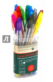 Набор ручек гелевых люрекс, трехгранные, 12 цветов (GLXZX-2788set)