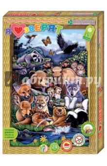 Набор для создания картины Я люблю зверят (АБ 21-113)Аппликации<br>Набор для детского творчества.<br>Красочную картину Я люблю зверят ребёнок старше 5 лет с помощью взрослых сможет сделать сам - без клея и ножниц, в технике 3-D аппликации. Персонажи картины - знакомые нам всем зверята - мишка, лосёнок, волчонок, лисёнок, оленёнок, маленький енотик, бельчата, совята и другие зверята. Работая с набором, ребёнок учится складывать трёхмерное изображение из частей, составляя перспективу. Рамку собирать не нужно - красочная и глубокая готовая рамка входит в набор. Клей также не нужен - вместо него в наборе объёмный двусторонний скотч.<br>Комплектация: готовые бумажные детали, собранная рамка из плотного картона, двусторонний объемный скотч.<br>Для детей от 5 лет.<br>Количество деталей: 24.<br>Сделано в России.<br>