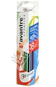 Карандаши цветные трехгранные, 18 цветов (AV-PNC11)Цветные карандаши 18 цветов (15—20)<br>Набор цветных трехгранных карандашей.<br>Количество цветов: 18.<br>Карандаши премиум класса.<br>Предварительно заточенные.<br>Эргономичный трехгранный корпус.<br>Насыщенные яркие цвета.<br>Не ломаются и не крошатся при заточке.<br>Для детей от 2-х лет.<br>Упаковано в картонную коробку с подвесом.<br>Сделано в Китае под контролем Авантре АГ.<br>