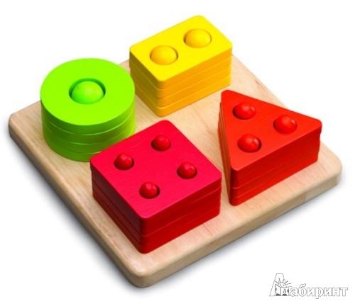 Иллюстрация 1 из 6 для Сортер-пирамидка с геометрическими фигурами (ВЕД-3086)   Лабиринт - игрушки. Источник: Лабиринт