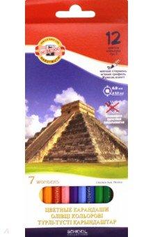 Карандаши 12 цветов 7 чудес света (3652)Цветные карандаши 12 цветов (9—14)<br>Цветные карандаши.<br>Количество штук в упаковке: 12.<br>Количество цветов: 12.<br>Упаковка: картонная коробка<br>