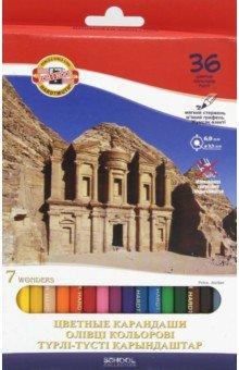 Карандаши 36 цветов 7 чудес света (3655)Цветные карандаши более 20 цветов<br>Цветные карандаши.<br>Количество штук в упаковке: 36.<br>Количество цветов: 36.<br>Упаковка: картонная коробка<br>