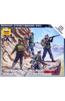 Немецкие горные стрелки 1939-1943 (6154)Пластиковые модели: Солдаты<br>Набор знаменитых немецких горных егерей Эдельвейс. Фигурки отличного качества, благодаря использованию 3D проектированию. <br>В игре Великая отечественная, немецкие егеря способны передвигаться по горам, недоступным другим подразделениям, что безусловно разнообразит игровой процесс.<br>Масштаб: 1/72.<br>Количество деталей: 20.<br>Высота солдатика: 2,4 см.<br>Состав набор: 4 неокрашенных солдатиков, 1 отрядная подставка с флагом, 1 карточка отряда.<br>Моделистам до 8-и лет рекомендуется помощь взрослых.<br>Не рекомендуется детям до 3-х лет.<br>Сделано в России<br>