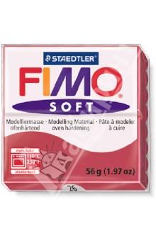FIMO Soft полимерная глина, 56 гр., цвет вишневый (8020-26)Лепим из глины<br>Fimo Soft - это запекаемая полимерная глина, очень мягкая и пластичная. Поддается формованию более охотно, чем другие разновидности Fimo. Может с одинаковым успехом использоваться как для изготовления простых изделий, например, магнитов, брелоков, так и для создания сложных украшений с переходом цвета и сложной поверхностью.  <br>Структура этой глины позволяет при смешивании получать красивые чистые цвета. Изделия, изготовленные из Fimo Soft приобретают высокую прочность после запекания. Походит для использования штампов. <br>Стандартный блок весит 56 грамм.<br>Цвет: вишневый (26)<br>Сделано в Германии<br>