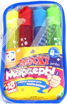 Maxi маркеры Jumbo. 4 шт. (710001)Декоративные маркеры, мелки<br>Набор мaxi маркеров 4 цветов.<br>В наборе 4 шт.<br>Легко держать малышам.<br>Маркеры упакованы в пластиковую сумочку на молнии.<br>Состав: пластмасса, бумага.<br>Для детей от 18 мес.<br>Сделано в Китае.<br>