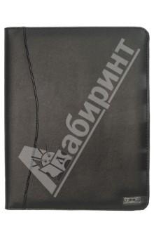 Папка адресная из искусственной кожи черного цвета (PLF0352)Папки-конверты на резинках<br>Папка для документов из искусственной кожи. Содержит карман для бумаг и документов, а так же карман для карточек (два с прозрачными вставками), отделение под бумажный блок, отделения для фиксации ручки. Размер 300 х 244 х 26 мм.<br>