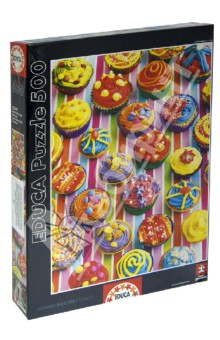 Пазл Разноцветные кексы. 500 деталей (15549)Пазлы (400-600 элементов)<br>Пазл-мозаика.<br>Состоит из 500 элементов.<br>Размер собранной картинки: 48х34 см.<br>Правила игры: вскрыть упаковку и собрать игру по картинке.<br>В комплект входит специальный клей для склеивания элементов. Клей представляет из себя порошок, который нужно просто разбавить водой. Он не разлагается при минусовой температуре как большинство клеев для пазлов.<br>Не давать детям до 3-х лет из-за наличия мелких деталей.<br>Упаковка: картонная коробка.<br>Состав: бумага, картон.<br>Производитель: Испания.<br>