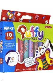 Краски объемные PUFFY 10 цветов (20639)Другие виды красок<br>Краски объемные PUFFY 10 цветов по 10,5 мл. Цвета: оранжевый, розовый, темно-розовый, зеленый, синий, сиреневый, коричневый, белый. Рисуют на бумаге, картоне, дереве, камне, текстиле.<br>Производство: Корея<br>