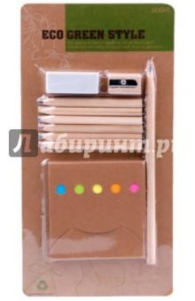 Набор канцелярский (070076)Офисные наборы (настольные)<br>Набор канцелярский:<br>- 6 цветных карандашей (желтый, красный, зеленый, коричневый, синий, черный)<br>- простой карандаш<br>- блок для заметок<br>- точилка<br>- ластик<br>Сделано в Китае.<br>
