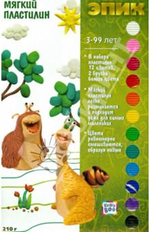 Мягкий пластилин Эпик 210г., 12 цветов, 13 штук (49677)