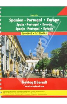 Spain-Portugal-Europa 1:400 000 / 1:3.500 000Атласы и карты мира<br>Spain-Portugal-Europa. M 1:400 000 / 1:3.500 000.<br>Крепление: двойная евроспираль.<br>